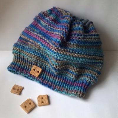 Tyrkysová melírovaná čepice